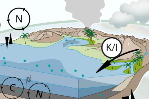 Interactions à échelles globales et locales entre les paramètres géodynamiques externes et internes sur les environnements de dépôt (sédimentation), et relations avec les paramètres minéralogiques (rapport kaolinite/illite, K/I) témoignant de l'altération continentale, et géochimiques (cycles du carbone et de l'azote) étudiés.
